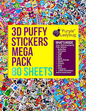 Purple Ladybug 3D Puffy Stickers for Kids & Toddlers Mega