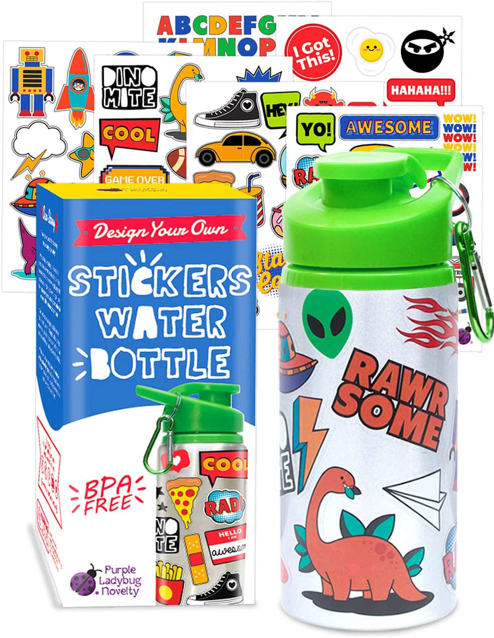 Purple Ladybug Decorate Your Own Kids Water Bottle for Boys Craft Kit