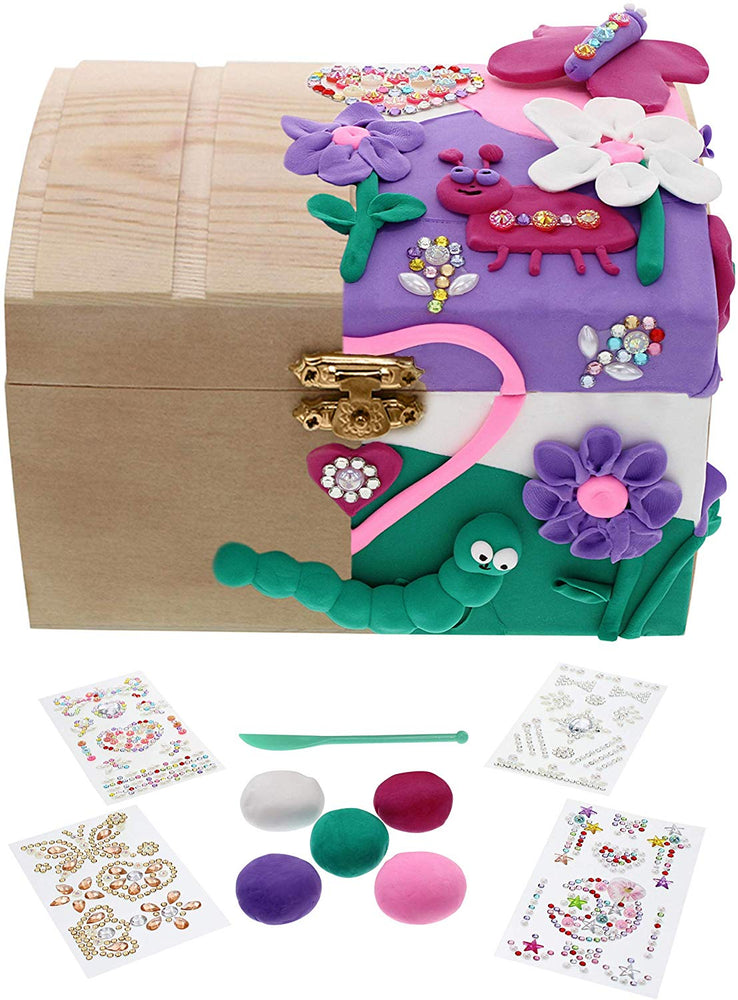 Purple Ladybug Novelty Kids Jewelry Box for Girls! DIY Craft Kit with Wooden Jewelry Box, 5 Colors Air Dry Clay, Sculpting Tool, and 4 Sheets Glitter Gem Stickers - Fun Crafts & Great Gift for Girl!
