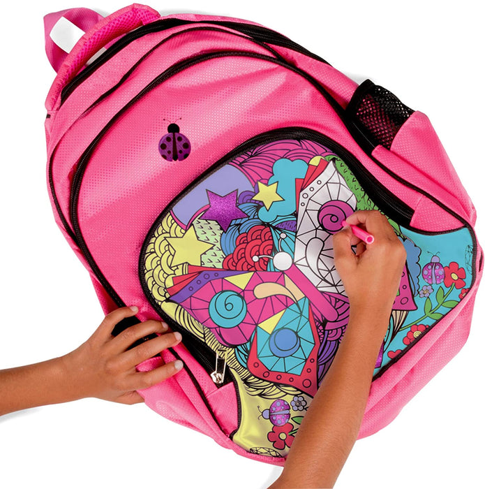 Color In Backpack with Water Bottle & Pencil Case