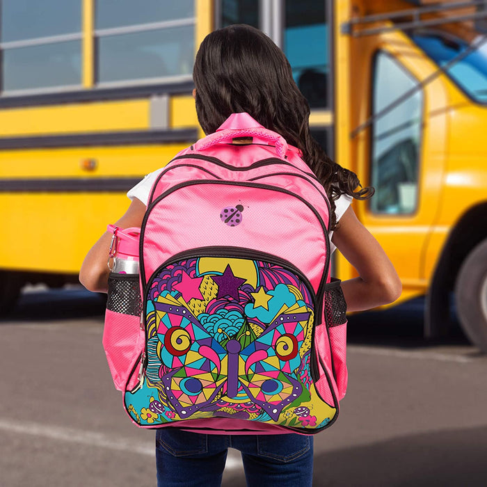 Purple Ladybug Novelty Large Backpack for Girls with Color-in Water Bottle and Pencil Case + 10 Vibrant Coloring Markers - Amazing Value in this Heavy Duty Creative Back to School Bag for Kids Kit!