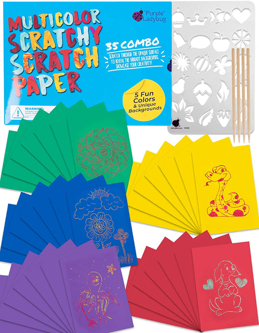 Multicolored Scratchy Scratch Paper 35 Combo Craft Kit for Kids