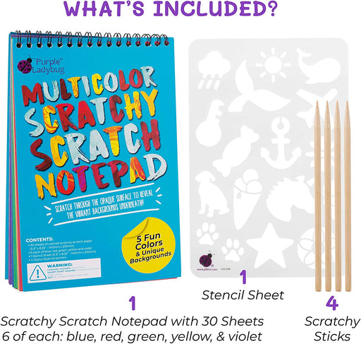 Multicolored Scratch Paper Art Kit Notepad
