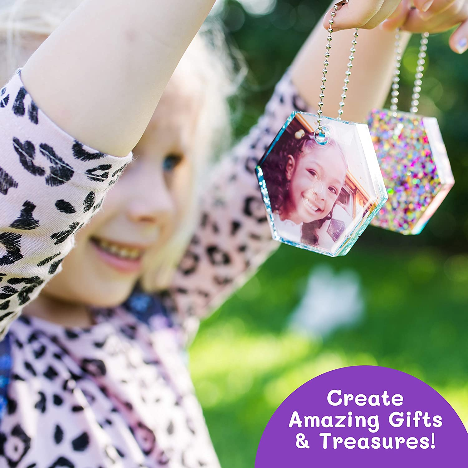 resin kit mold package kids activity with glitters for holding a photo