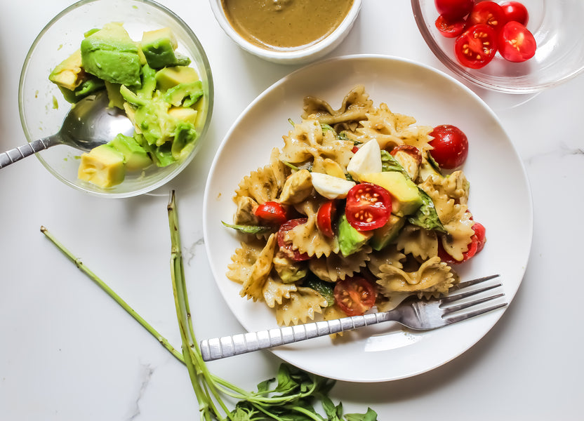 Recipe 1 | Pesto Pasta Salad with Cherry Tomatoes, Mozzarella & Avocados