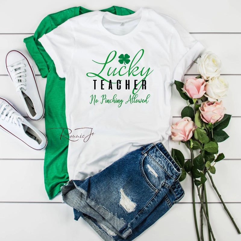 d32ea452d342 Lucky Teacher St. Patricks Day Tee - Island Life Monograms