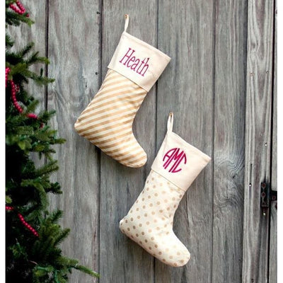 Gold Accent Christmas Stockings - Island Life Monograms