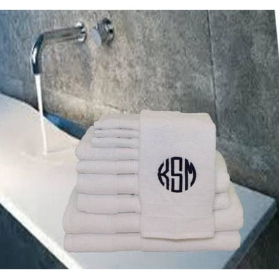 Towel Set - 8 Piece White - Island Life Monograms