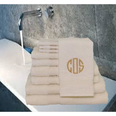 Towel Set - 8 Piece Creme - Island Life Monograms