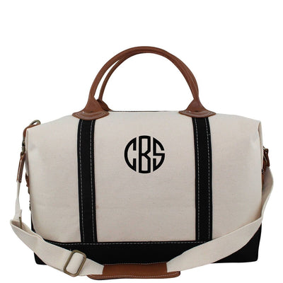 Natural Canvas Weekender with Black Straps - Island Life Monograms