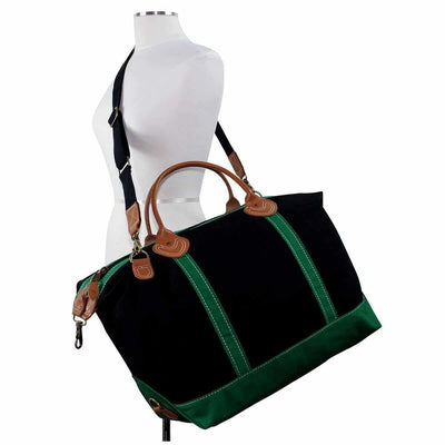 Black/Green Canvas Weekender - Island Life Monograms