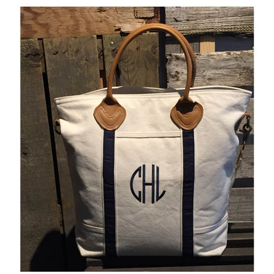 Natural Canvas Flight Bag with Black Straps - Island Life Monograms