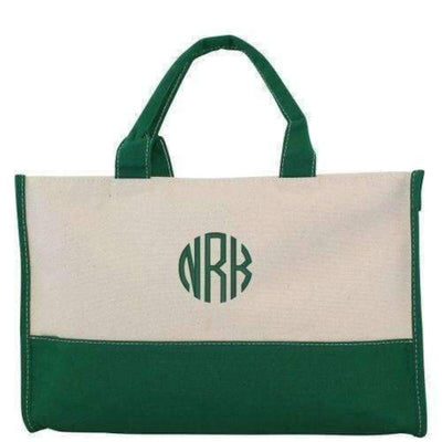 Colorblock Canvas Tote - Island Life Monograms