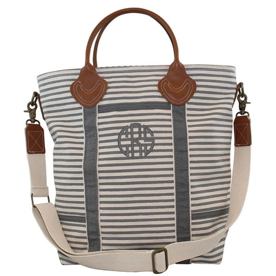 Grey Striped Canvas Flight Bag - Island Life Monograms