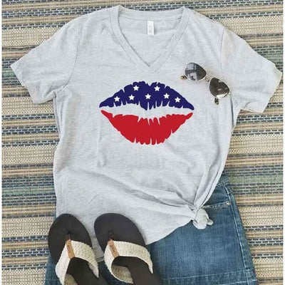 Fourth of July Lips Shirt - Island Life Monograms