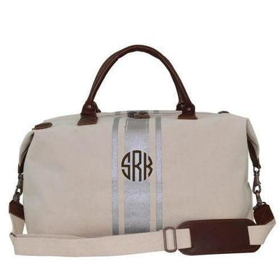 Natural/Silver Paintstroke Canvas Weekender - Island Life Monograms