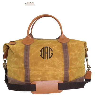 Yellow Waxed Canvas Weekender - Island Life Monograms