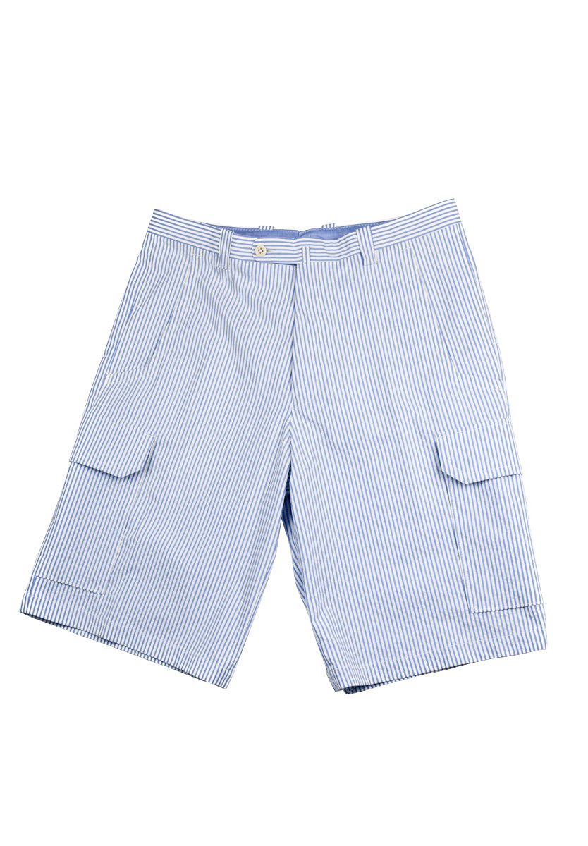 Del Mar 6 Pocket Cargo - Sky Blue & White