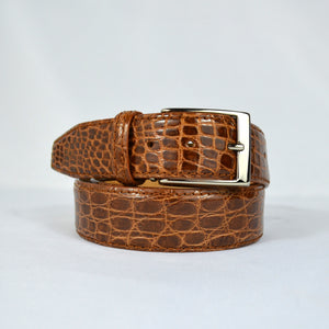 Genuine Crocodile Belt - Cognac Glazed