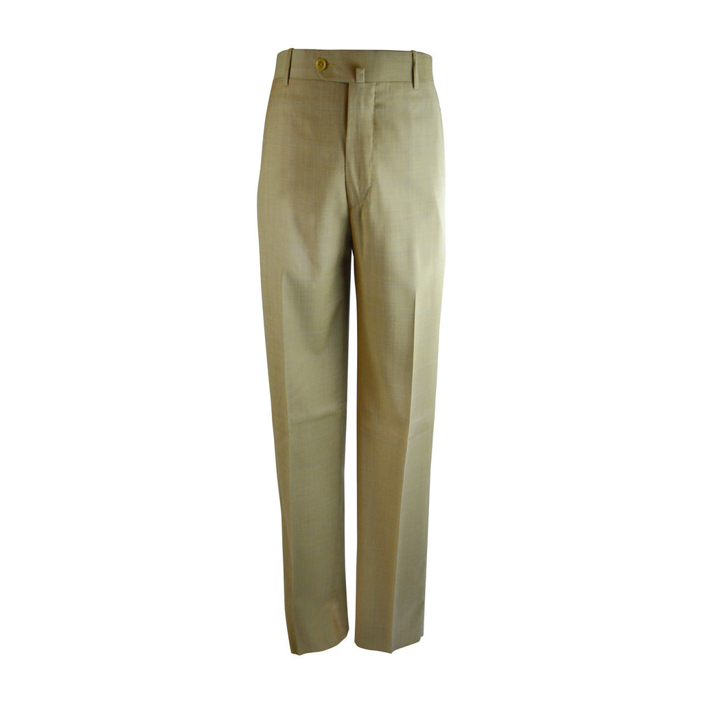 Laguna Flat Front Trouser - Gold Windowpane