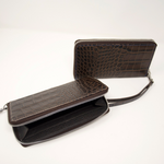 Ladies Mock King Croc Clutch - Brown