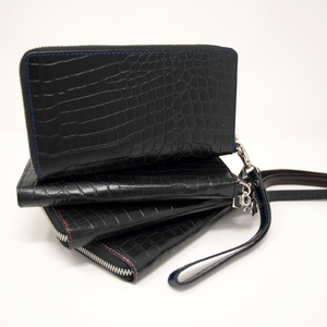 Ladies Mock King Croc Clutch - Black