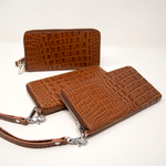 Ladies Mock King Croc Clutch - Cognac