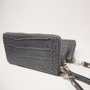 Ladies Mock King Croc Clutch - Grey