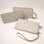 Ladies Antique Mock Croc Clutch - Snow