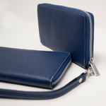 Ladies Italian Pebble Clutch - Airforce Blue