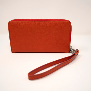 Ladies Italian Pebble Clutch - Tangerine