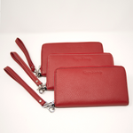 Ladies Italian Pebble Clutch - Red