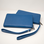 Ladies Italian Pebble Clutch - New Blue