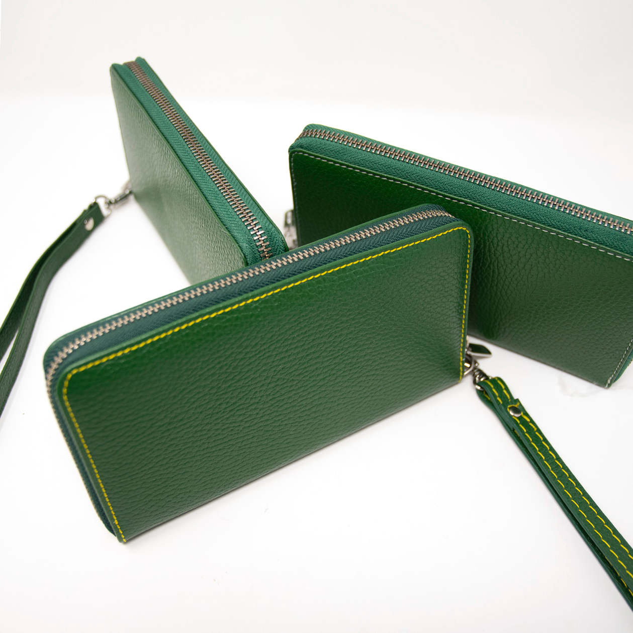 Ladies Italian Pebble Clutch - Green