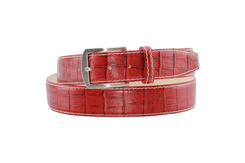 caiman crimson red with white stitch