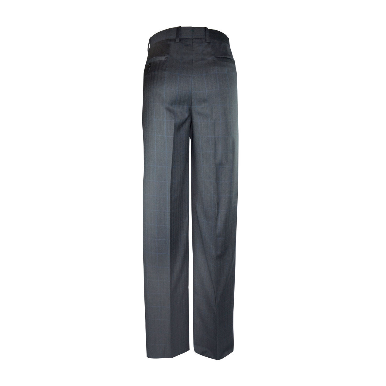 Newport Pleated Front Trouser - Charcoal Windowpane