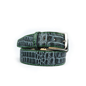 Antique Faux Crocodile Belt - Musk