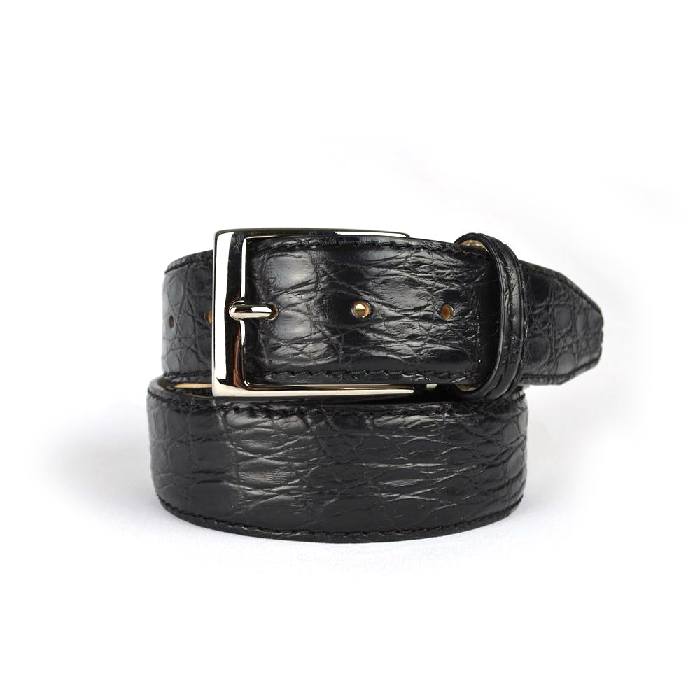 Genuine Matte Crocodile Belt - Black