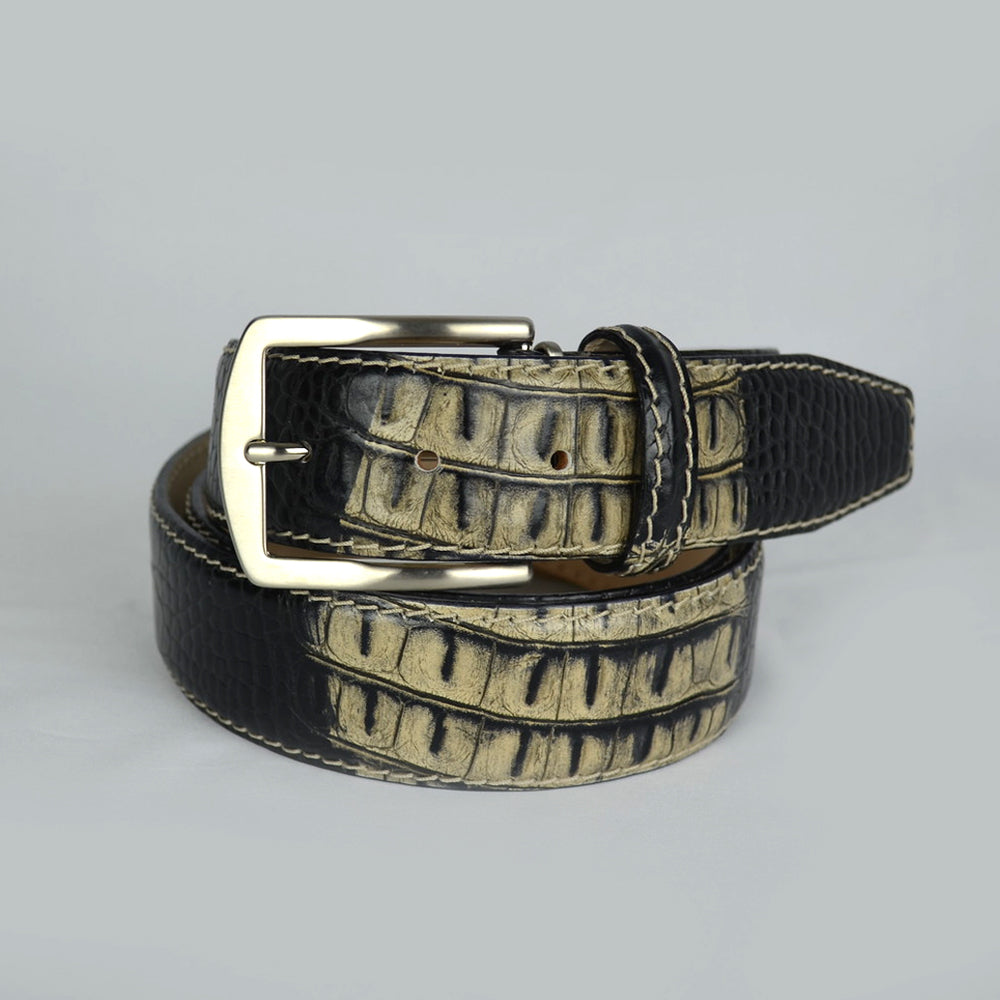 Two-toned Mock Croc Belt - Ecru