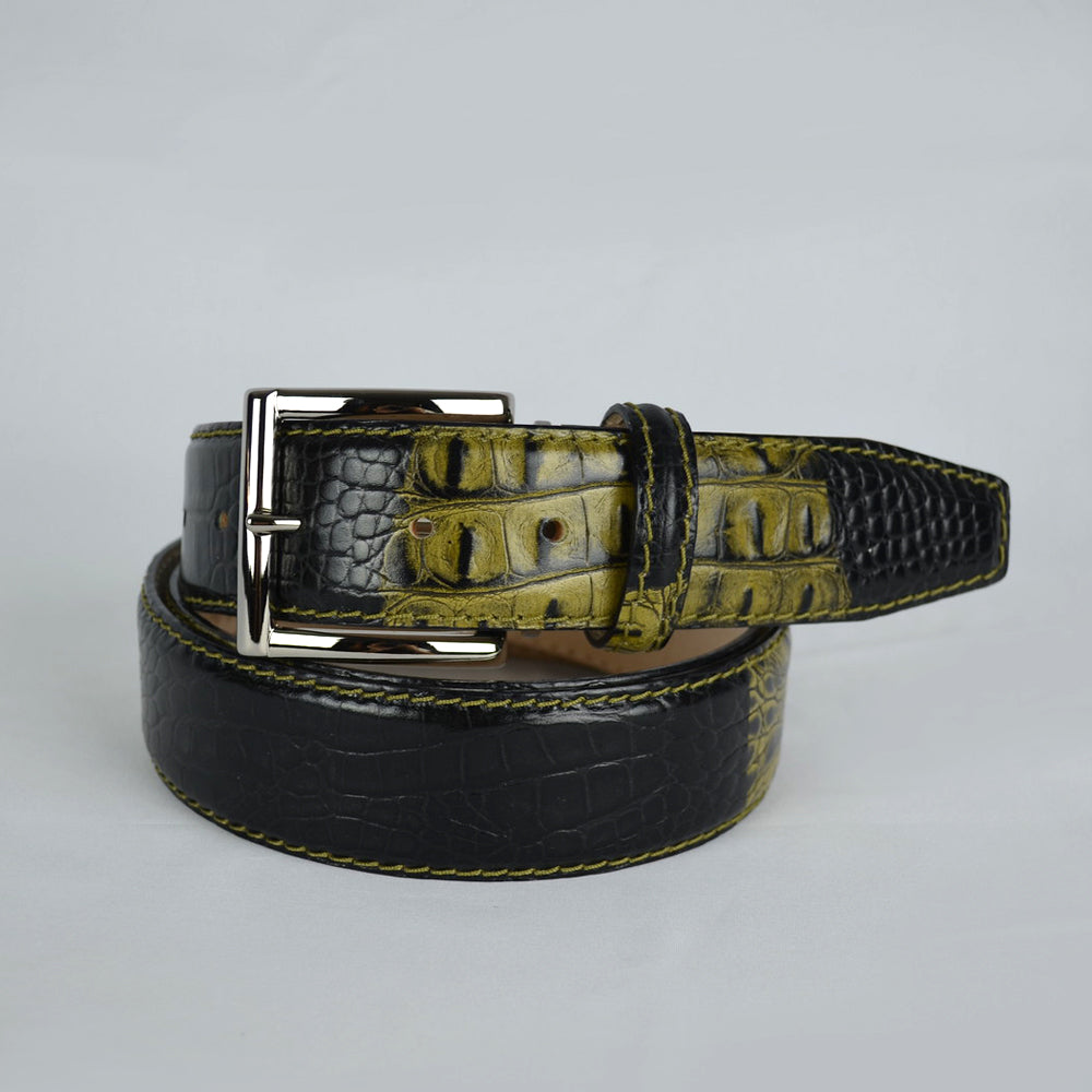 Two-toned Mock Croc Belt - Olive