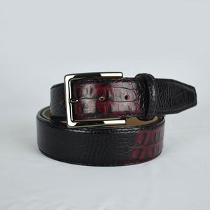 Two-toned Mock Croc Belt - Wine