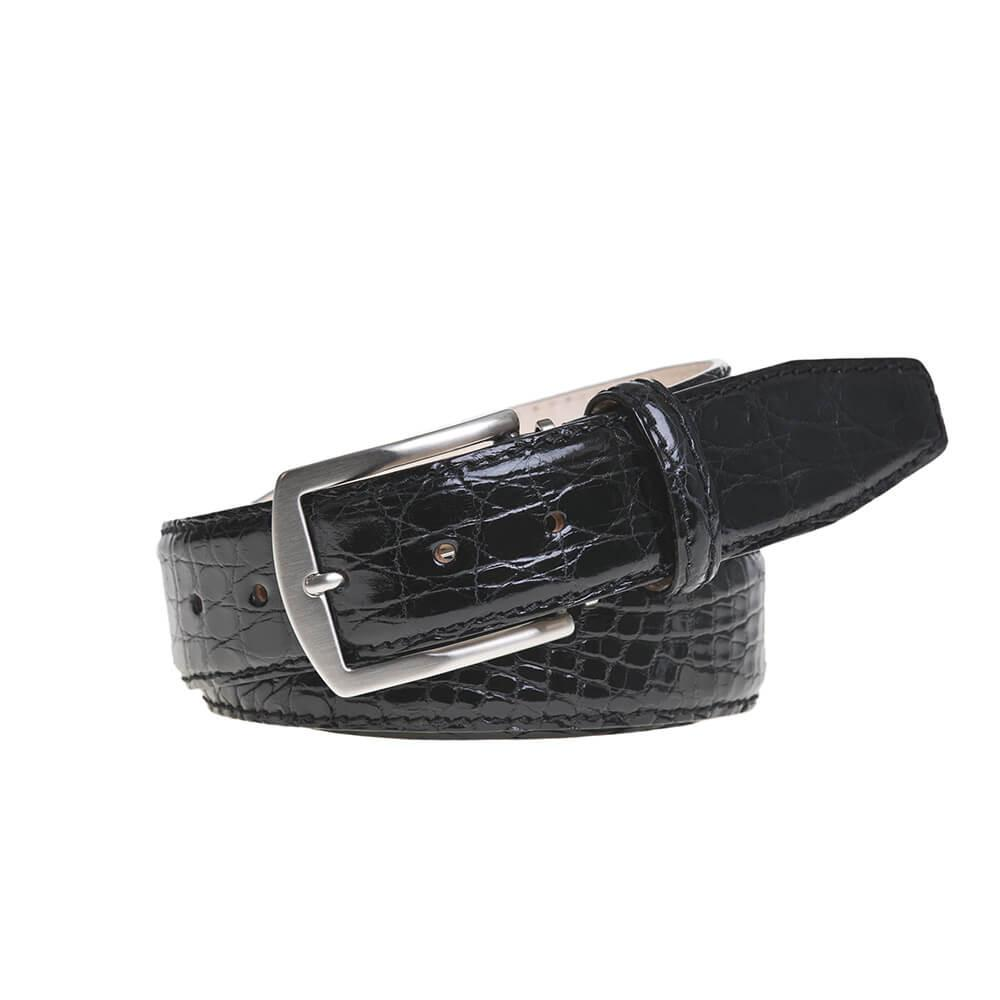 Genuine Glazed Crocodile Belt - Black