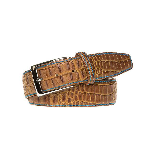 Antique Faux Crocodile Belt - Gold