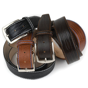 Faux Lizard Belt - Cognac