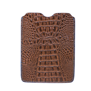 Leather iPad Sleeve - Mock Croc Brown