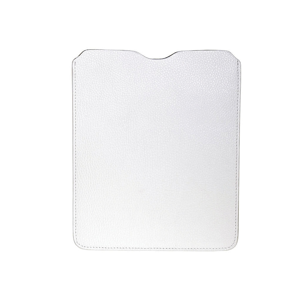 Leather iPad Sleeve - Pebble White