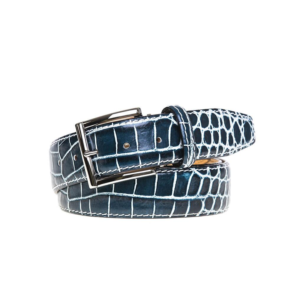 Marbled Mock Crocodile Belt - Blue