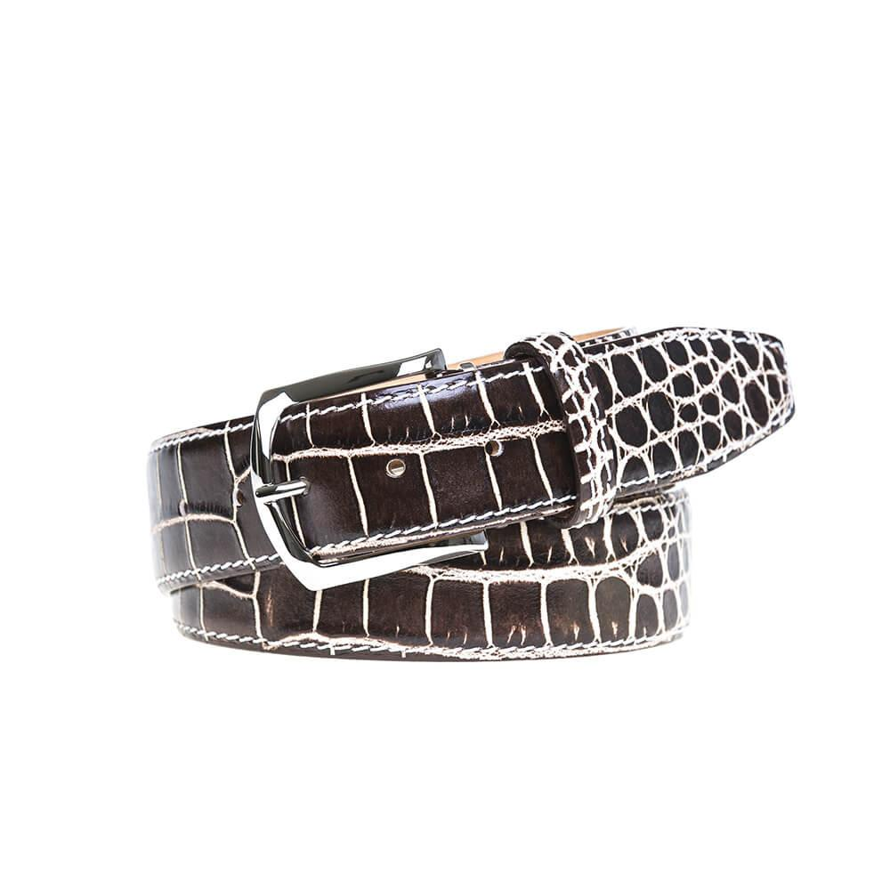 Marbled Mock Crocodile Belt - Brown