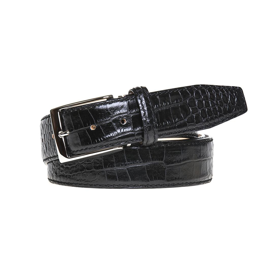 Mock Crocodile Belt - Black