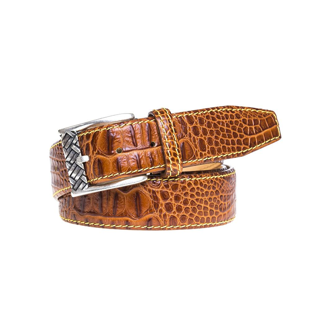 Mock Crocodile Belt - Cognac